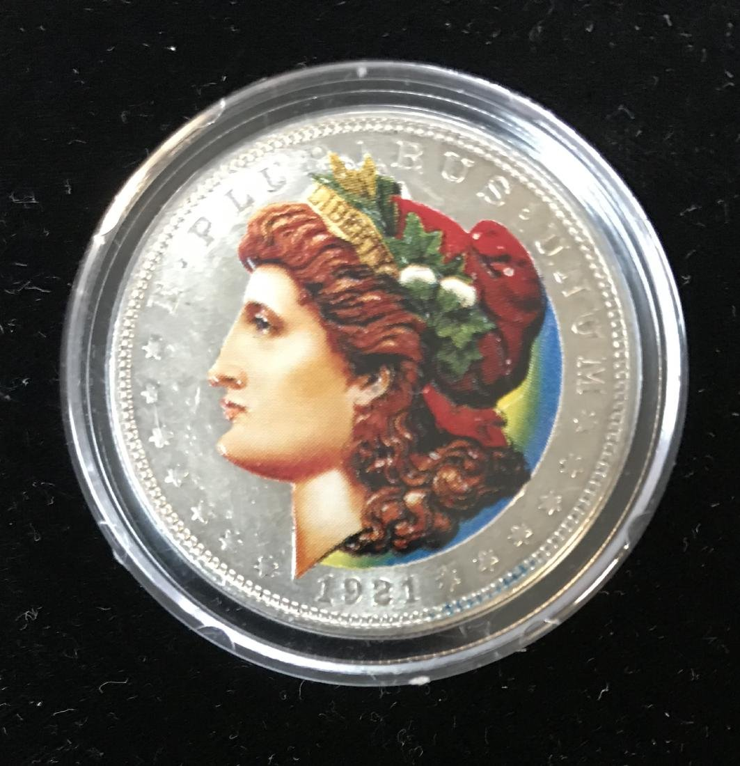 1921-P $1 Colorized Morgan Dollar Silver in Capsule