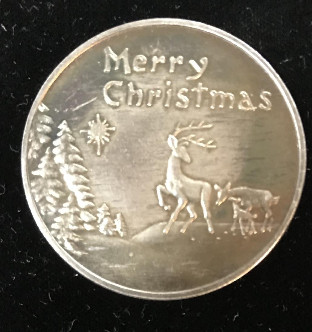 Merry Christmas 1 tr oz .999 Fine Silver Round Nice