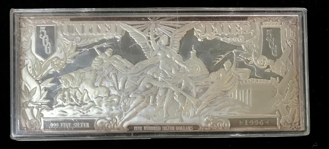 1996 U.S. 500 Silver Dollars Silver Certificate One - 2