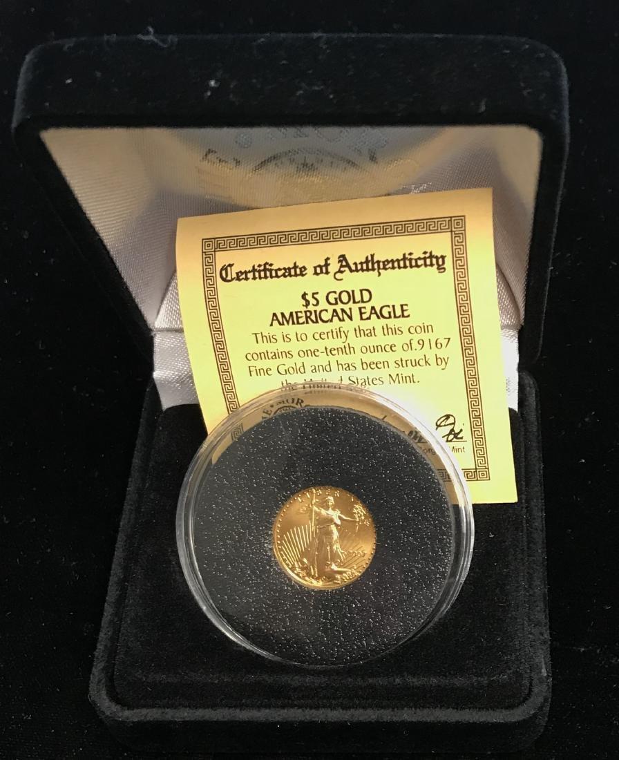 2007 $5 Gold American Eagle 1/10 oz .9167 Fine Gold