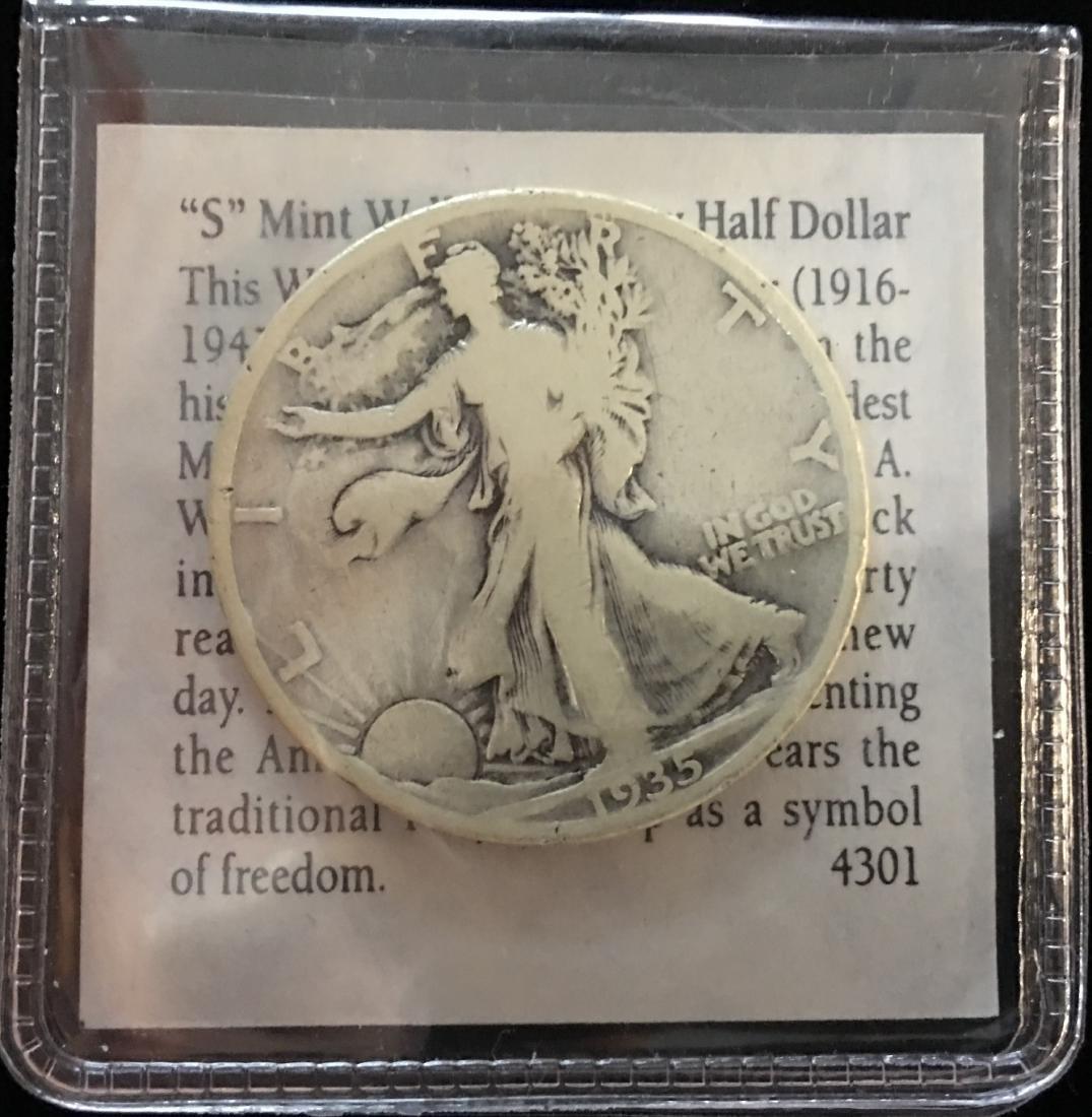 1935-S 50C Walking Liberty Silver Half Dollar