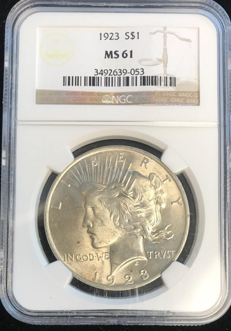 1923-P Peace Silver Dollar NGC MS61
