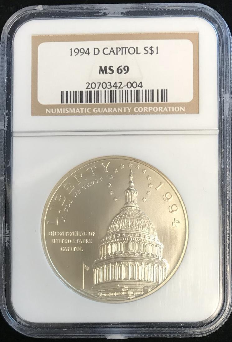 1994-D $1 U.S. Capitol Bicentennial Silver