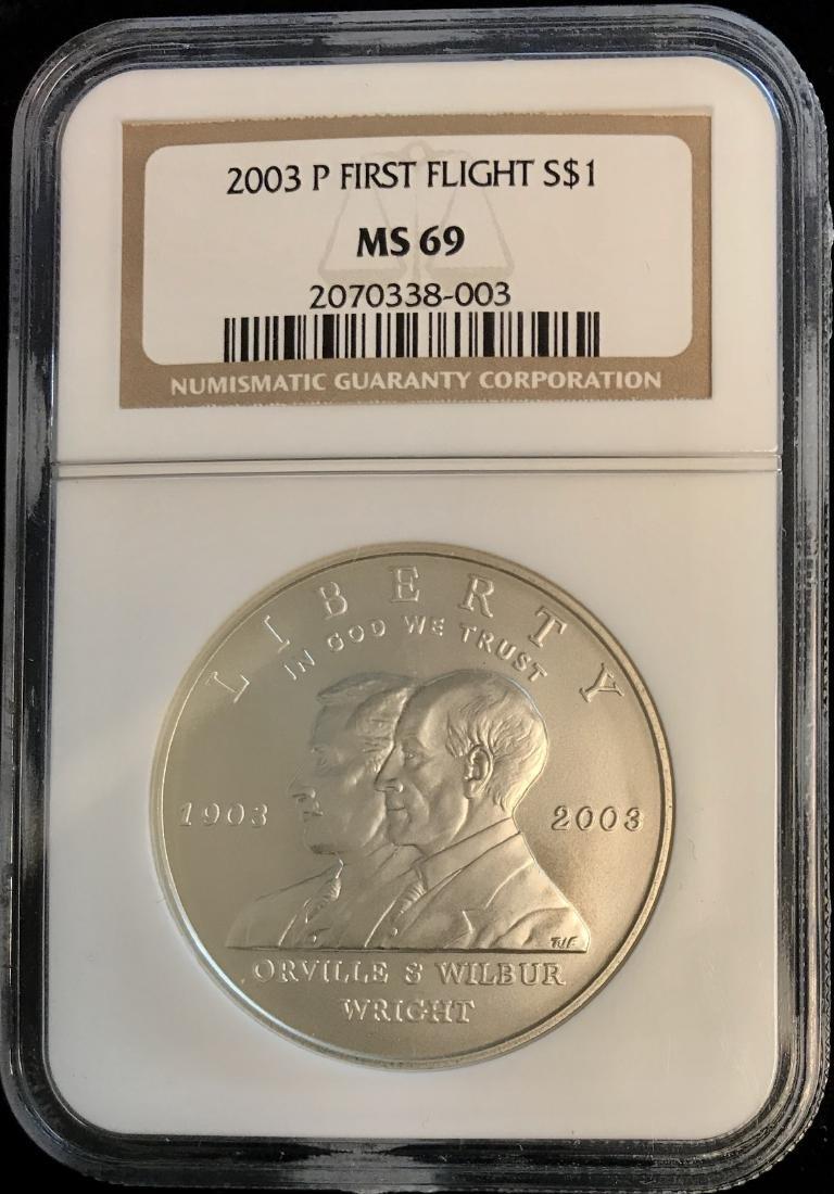 2003-P $1 First Flight Silver Commemorative Dollar NGC