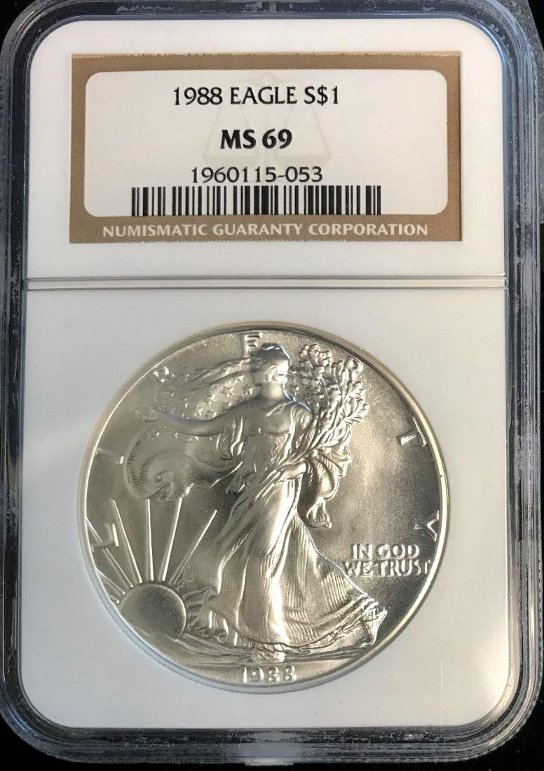 1988 $1 American Silver Eagle NGC MS69