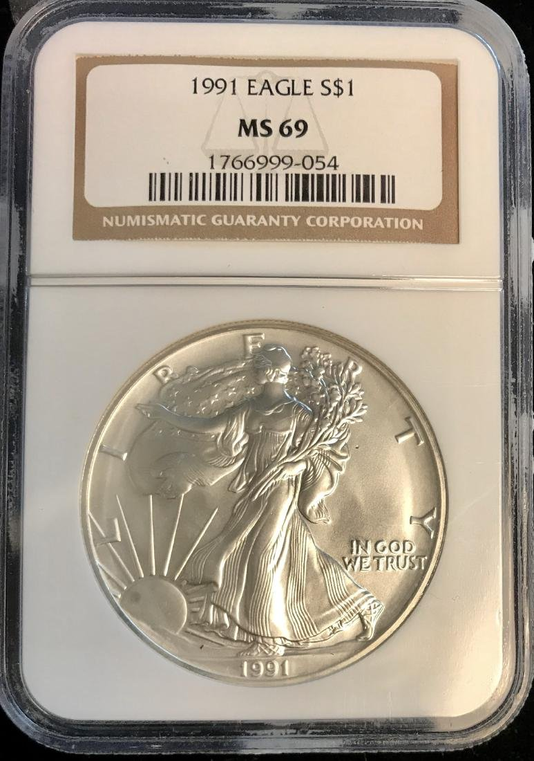 1991 $1 American Silver Eagle NGC MS69