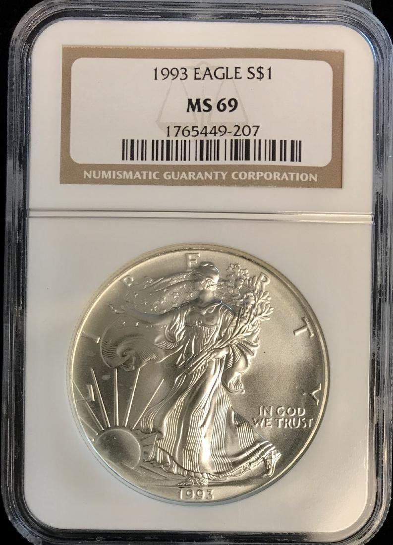 1993 $1 American Silver Eagle NGC MS69