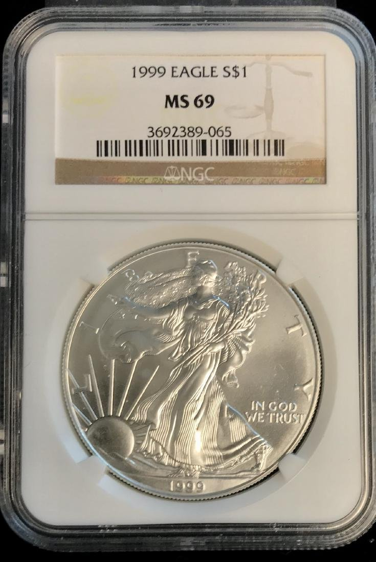 1999 $1 American Silver Eagle NGC MS69