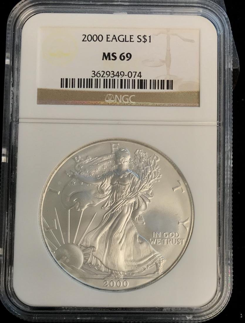 2000 $1 American Silver Eagle NGC MS69