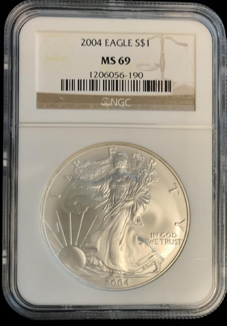 2004 $1 American Silver Eagle NGC MS69