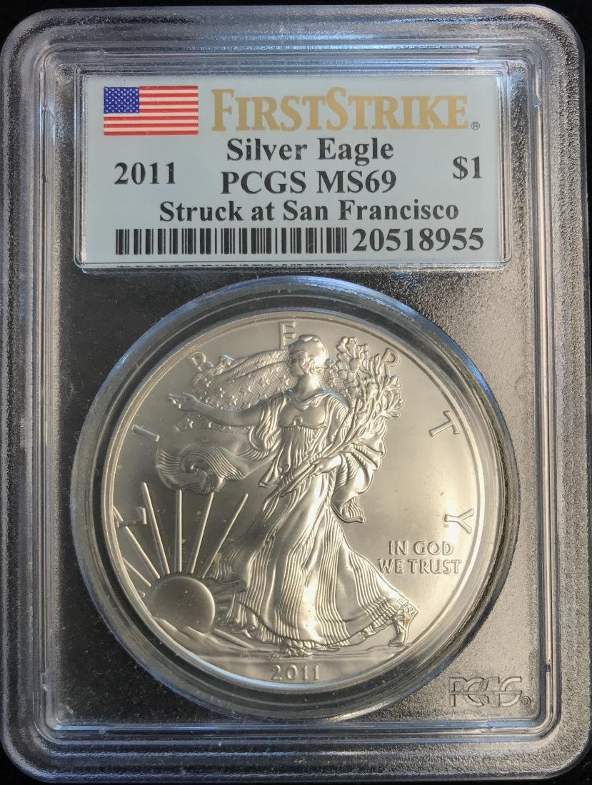 2011 $1 American Silver Eagle First Strike PCGS MS69