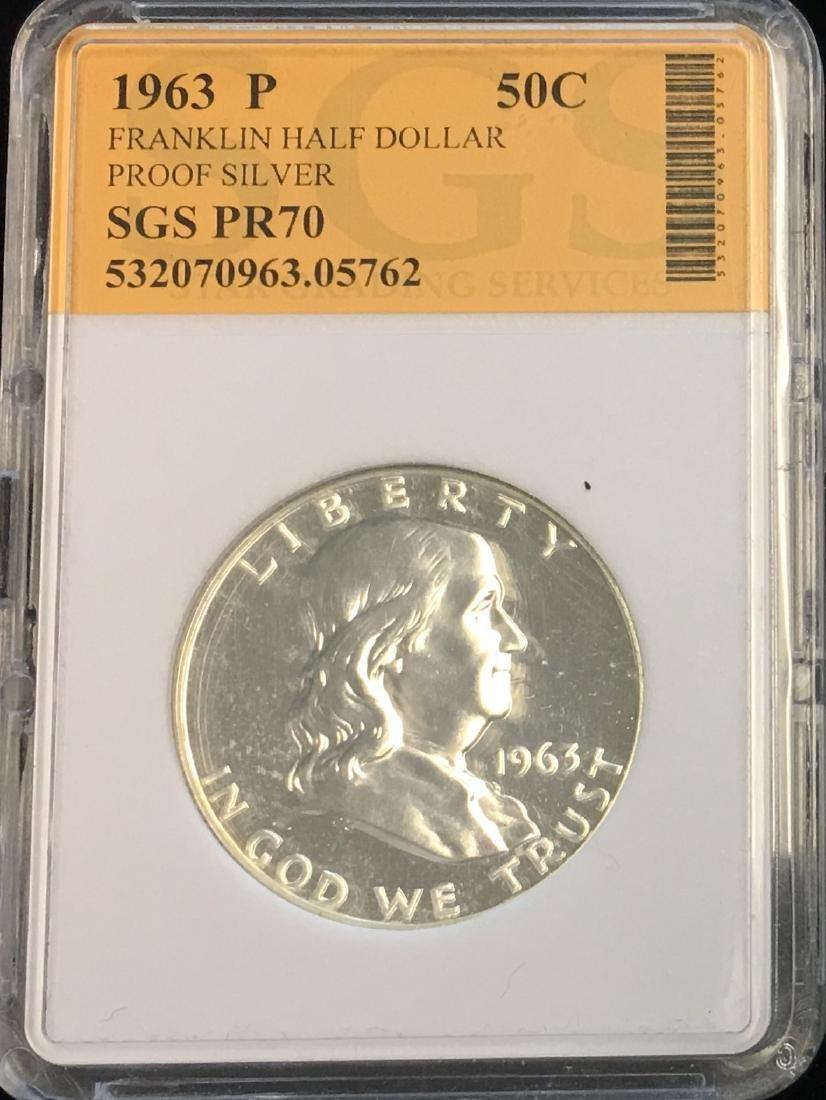 1963-P 50C Silver Franklin Half Dollar Proof SGS PR70