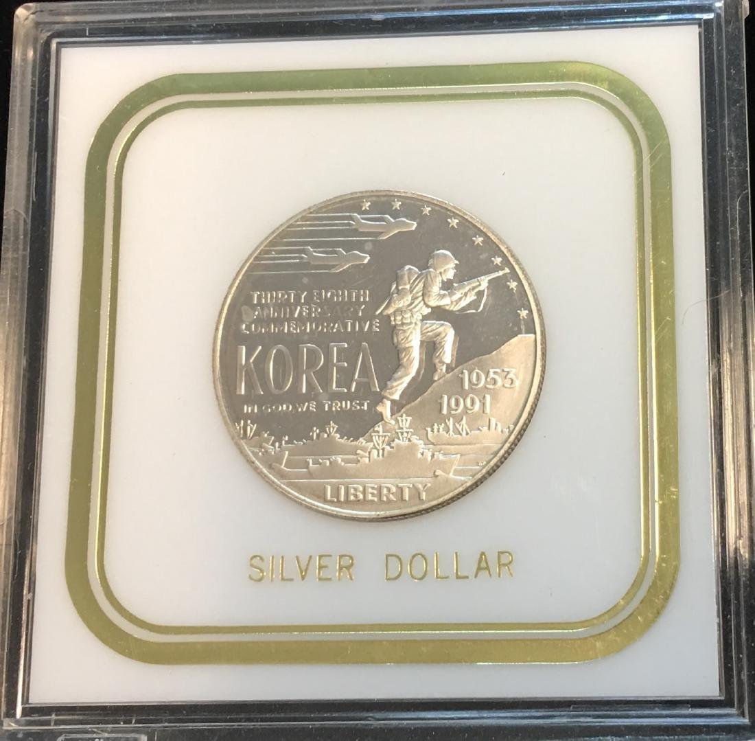 1991-P $1 Korean War Modern Commemorative Silver Dollar