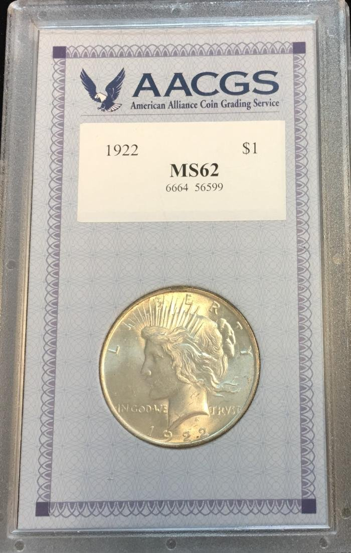 1922-P $1 Silver Peace Dollar AACGS MS62