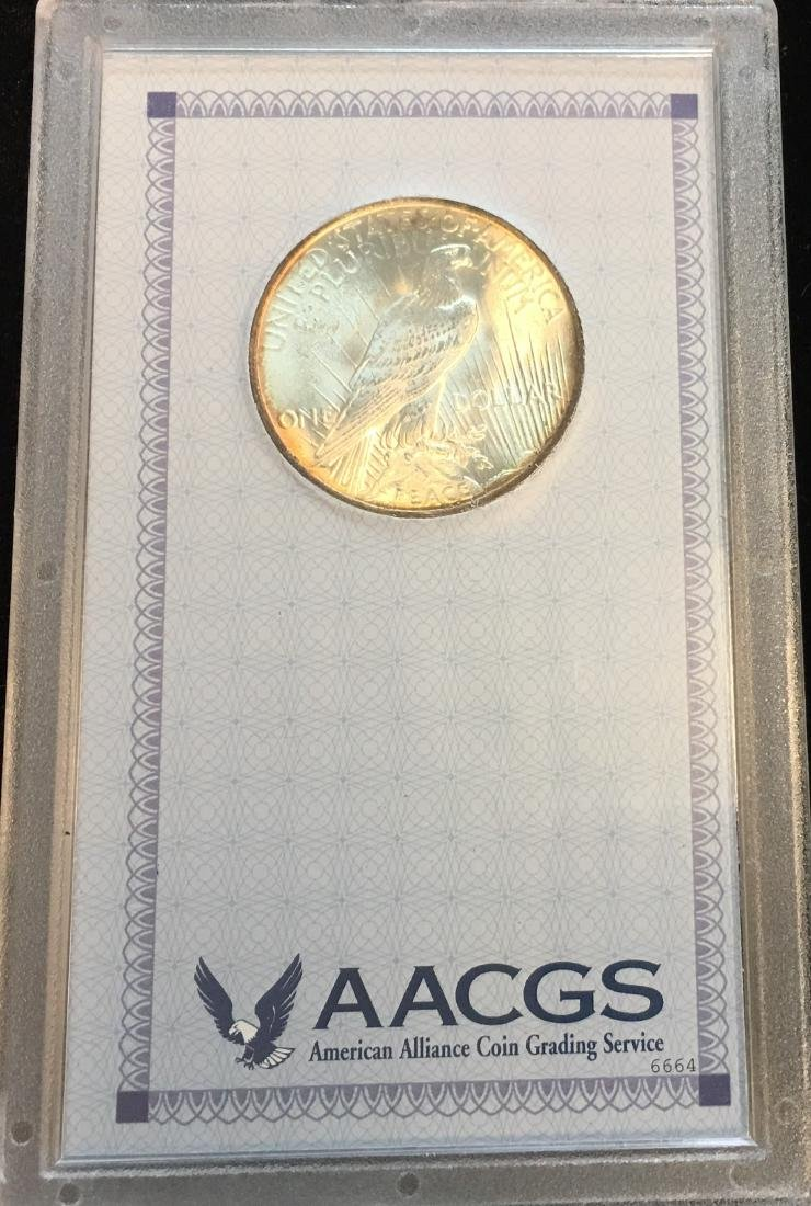 1922-P $1 Silver Peace Dollar AACGS MS62 - 2