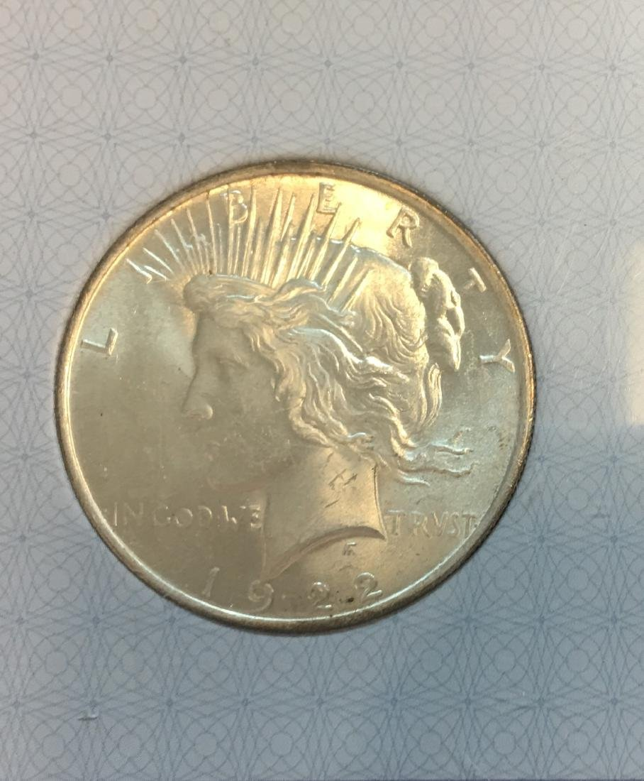 1922-P $1 Silver Peace Dollar AACGS MS62 - 3