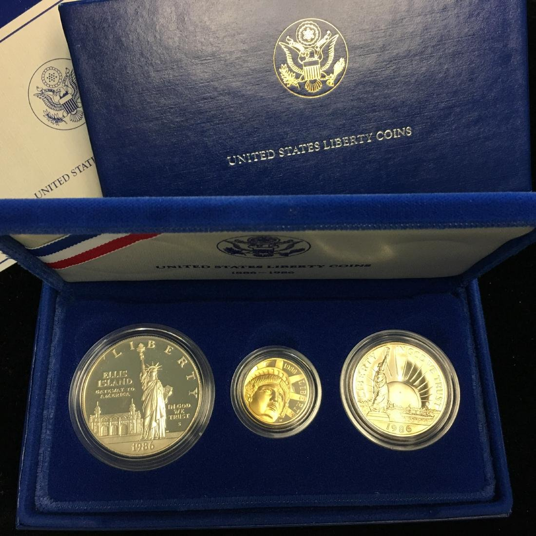 1986 U.S. Statue of Liberty 3 Coin Proof Set 1886-1986