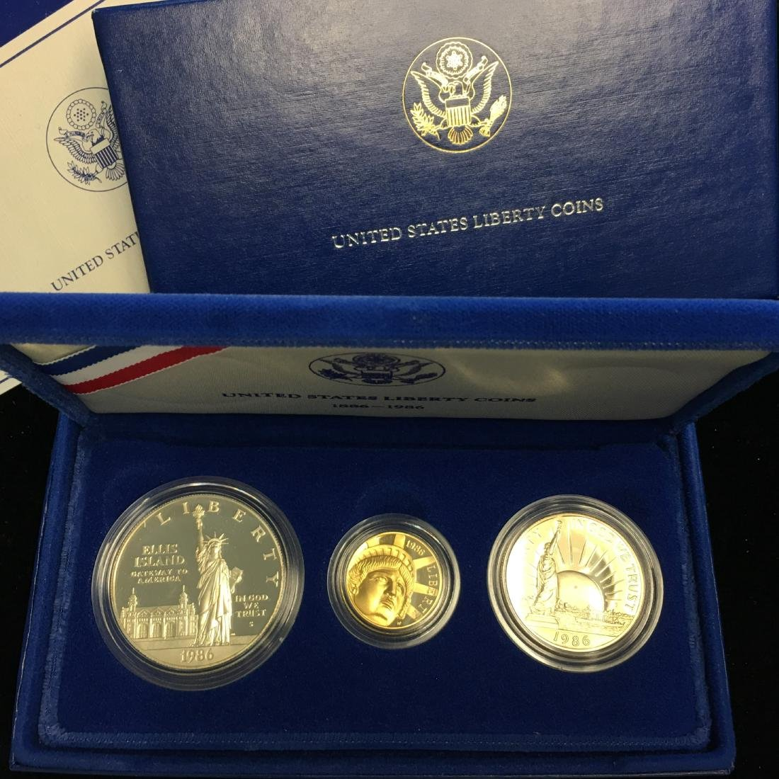 1986 U.S. Statue of Liberty 3 Coin Proof Set 1886-1986 - 2