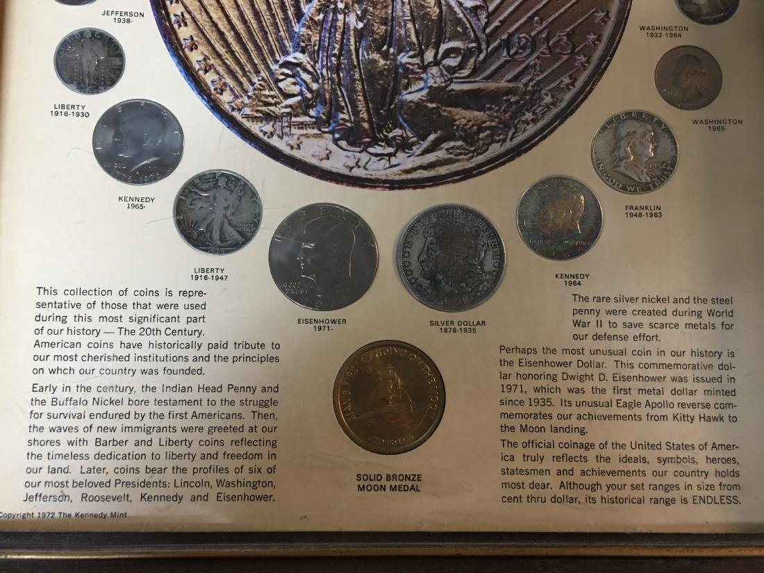 UNITED STATES 20TH CENTURY COINS IN PICTURE FRAME - 2