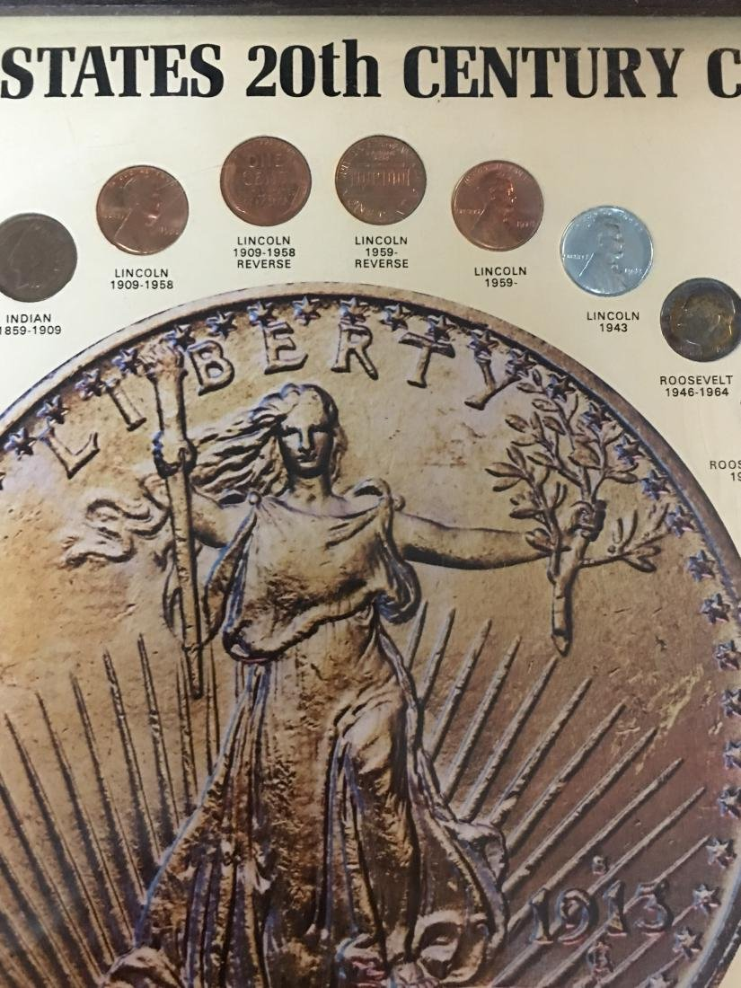 UNITED STATES 20TH CENTURY COINS IN PICTURE FRAME - 3