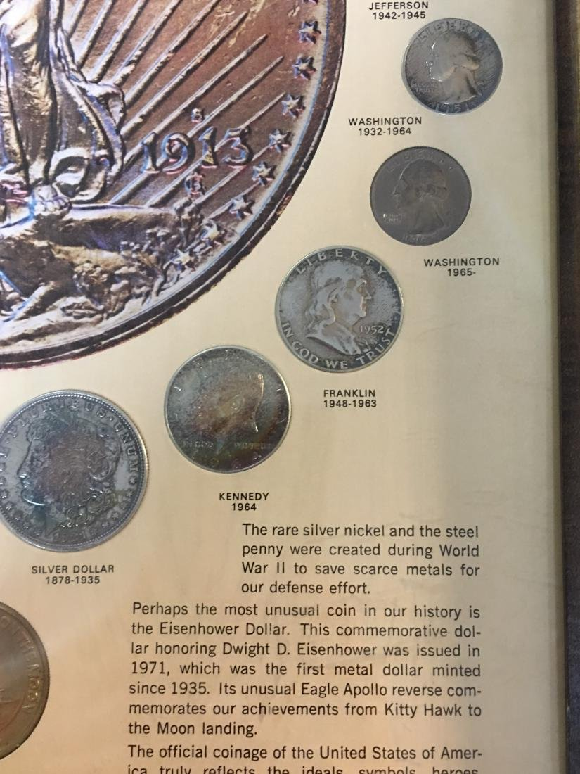 UNITED STATES 20TH CENTURY COINS IN PICTURE FRAME - 4