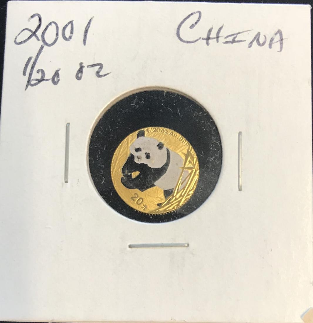 2001 China 20Yn Colorized Panda 1/20 oz AU .999 Gold
