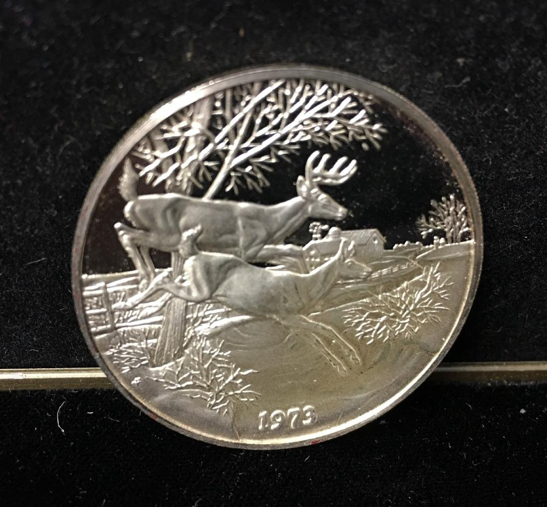 1973 Franklin Mint Annual Christmas Medal Tree and Deer