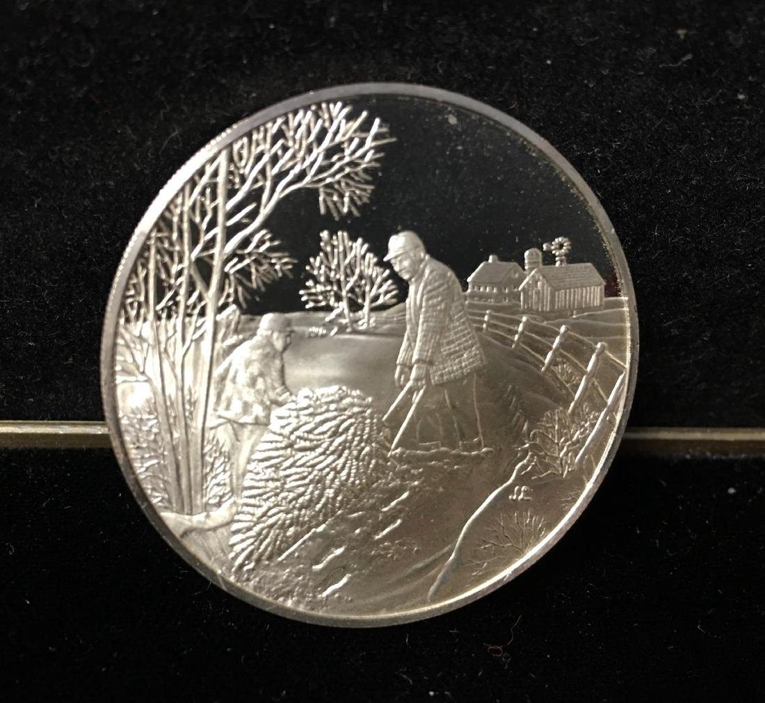 1973 Franklin Mint Annual Christmas Medal Tree and Deer - 2