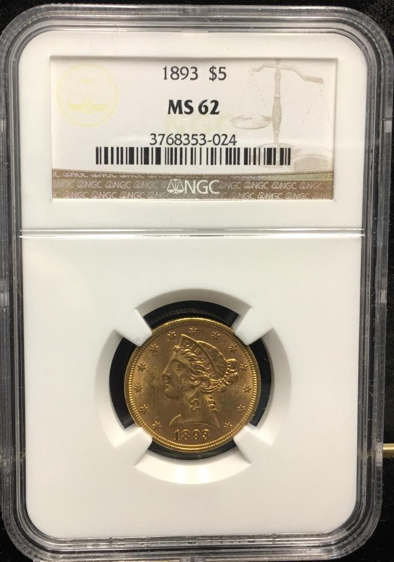 1893 $5 Liberty Gold Half Eagle NGC MS62