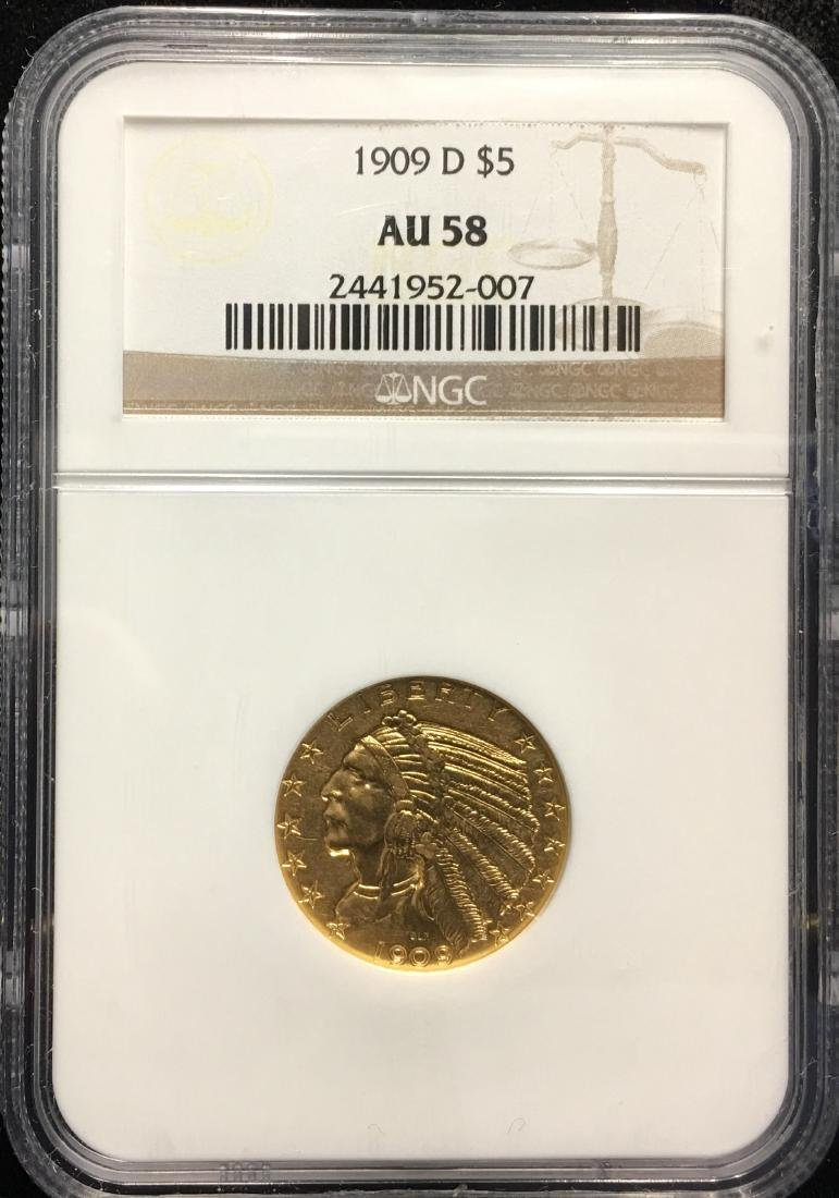 1909 $5 Gold Indian Head NGC AU58