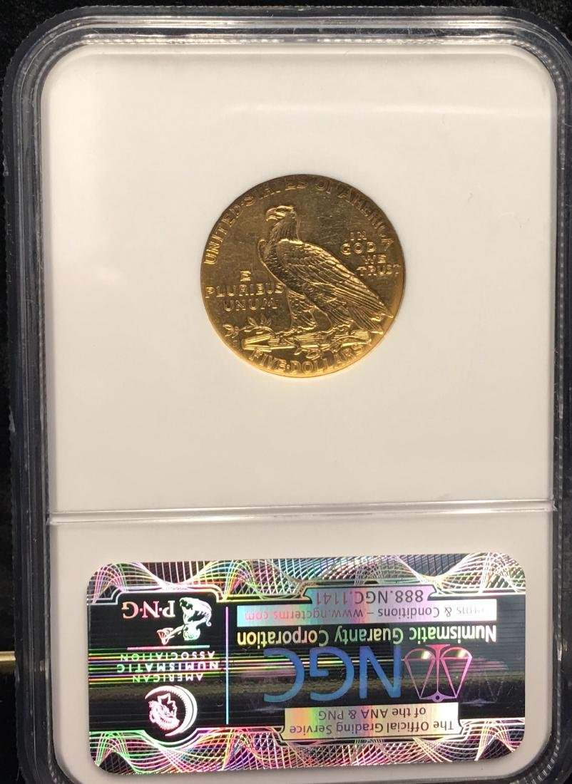 1909 $5 Gold Indian Head NGC AU58 - 2