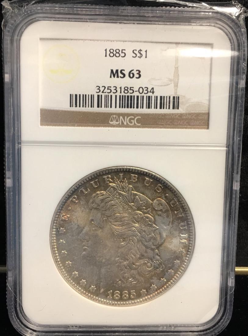 1885 $1 Morgan Silver Dollar NGC MS63