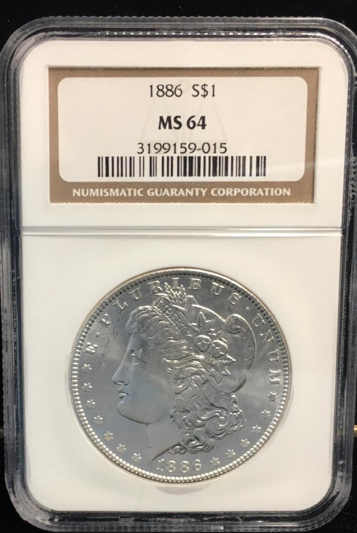 1886 $1 Morgan Silver Dollar NGC MS64