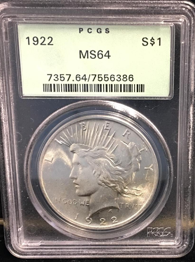 1922-P $1 Peace Silver Dollar PCGS MS64
