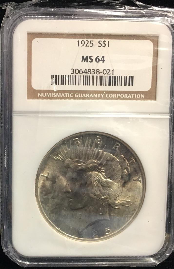 1925 $1 Peace Silver Dollar NGC MS64