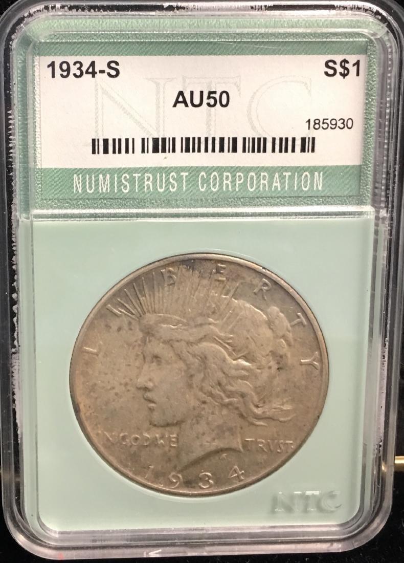 1934-S $1 Peace Silver Dollar NTC AU50 Key Date