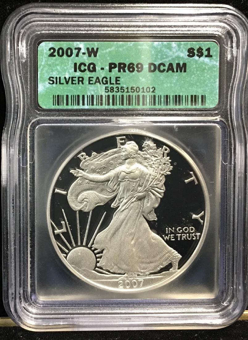 2007-W $1 American Silver Eagle ICG PR69 DCAM