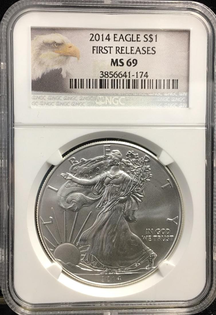 2014 $1 American Silver Eagle First Releases NGC MS69