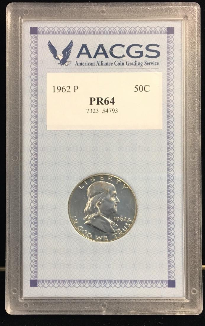 1962-P 50C Franklin Silver Half Dollar AACGS PR64