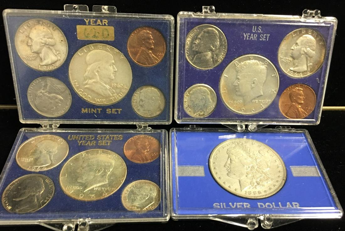 Set of 4 Lots - 1886-O $ Morgan Silver Dollar & Three