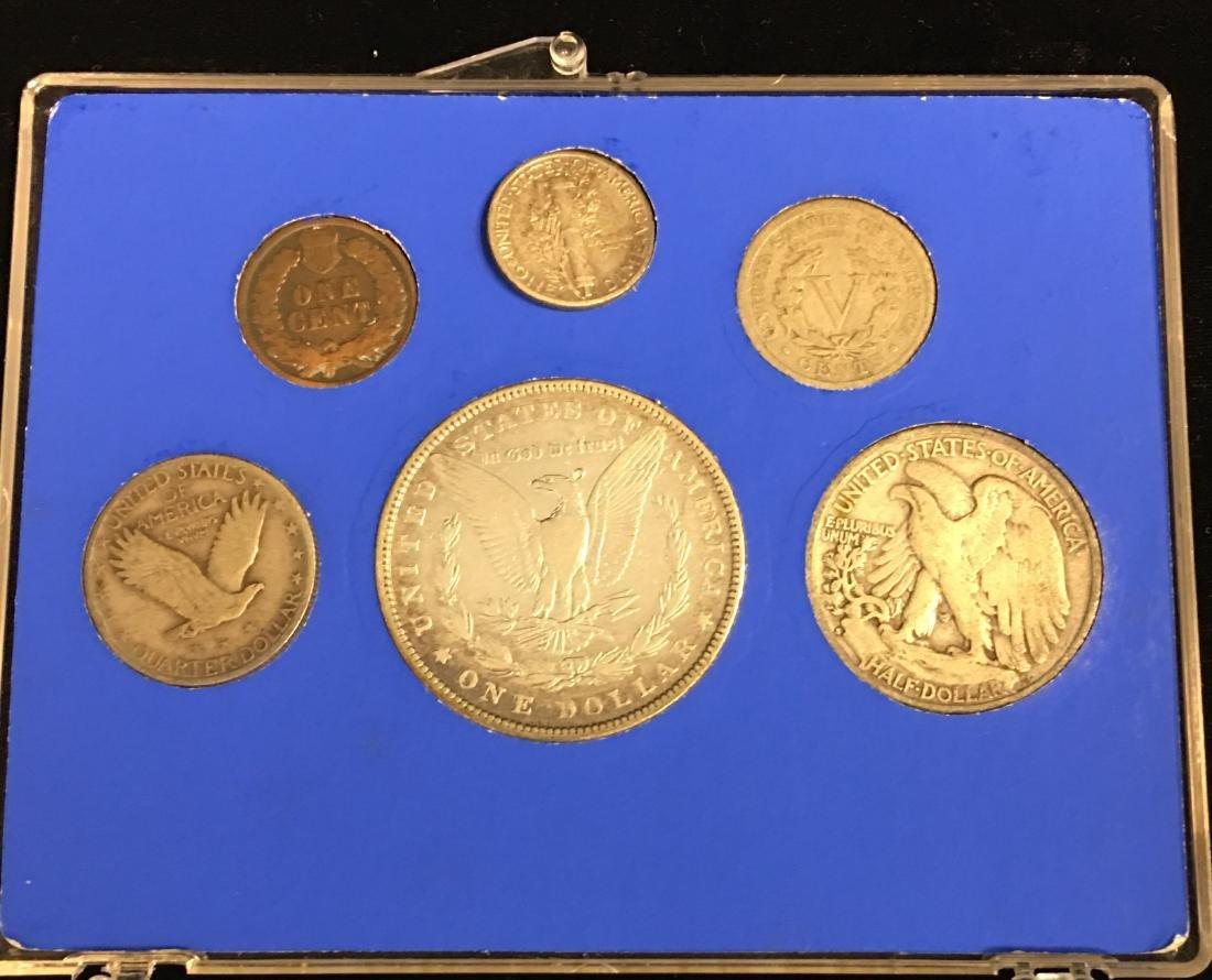 U.S. Obsolete Set of 6 coins including:  1882 $1 Morgan - 2
