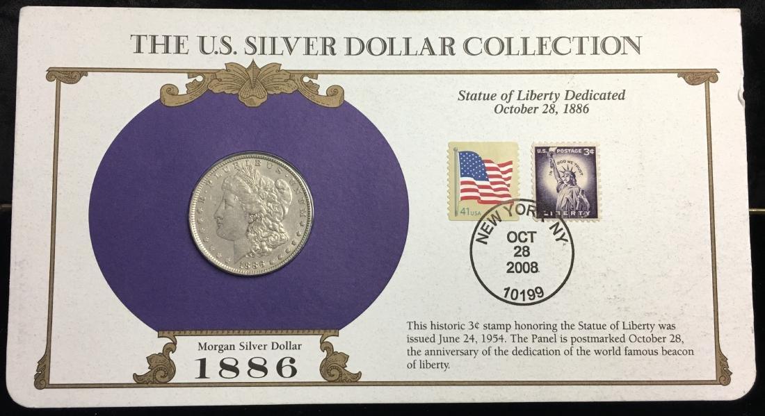 1886 $1 Morgan Silver Dollar Circulated with Stamps NY