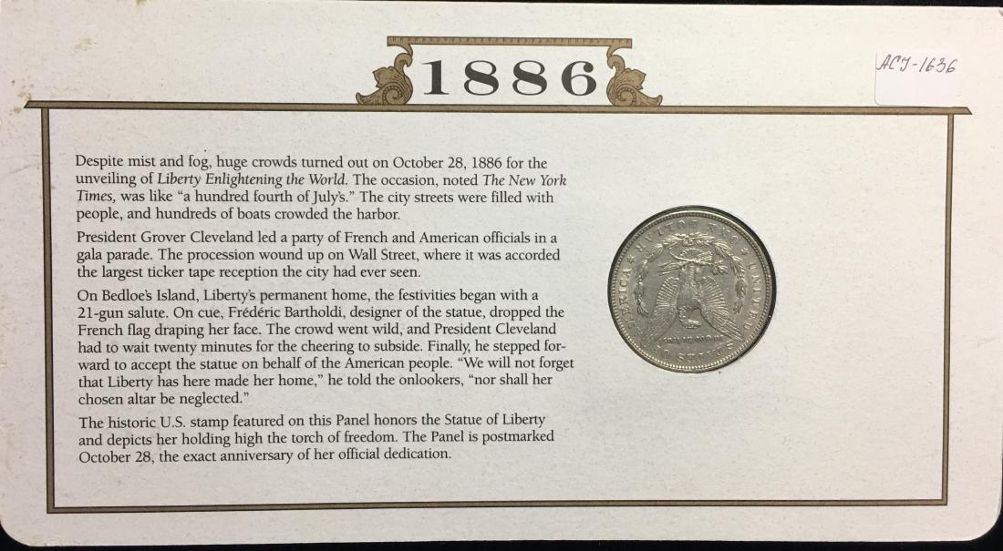 1886 $1 Morgan Silver Dollar Circulated with Stamps NY - 2