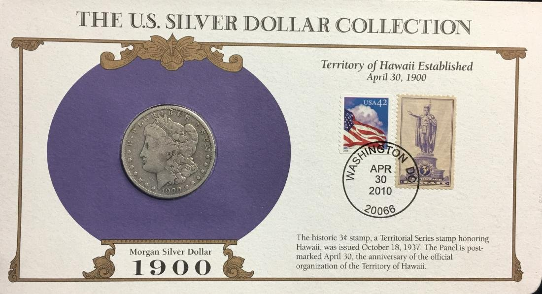 1900-O $1 Morgan Silver Dollar Circulated with Stamps -