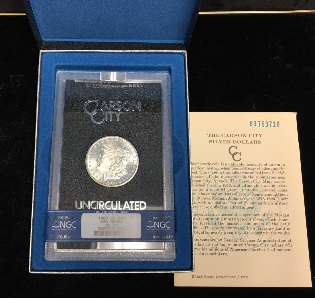 1883-CC $1 Morgan Silver Dollar NGC GSA HOARD MS64 with