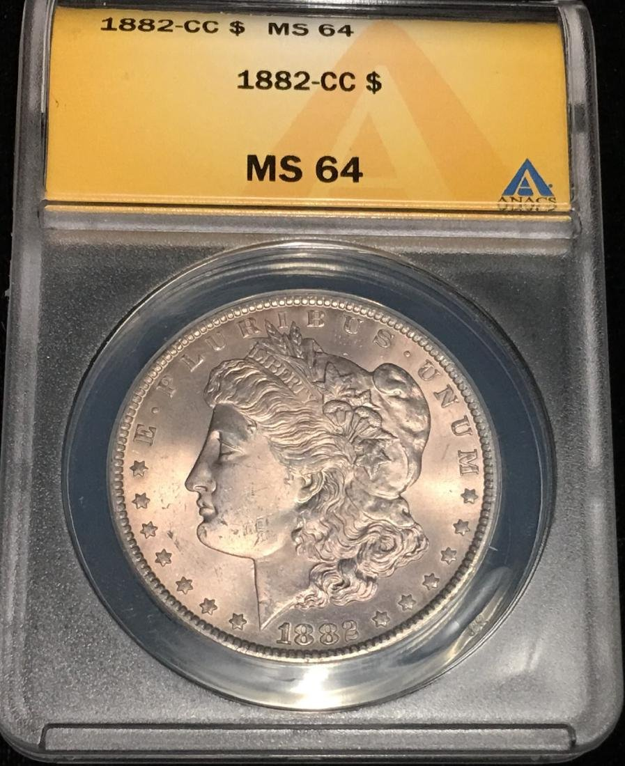1882-CC $1 Morgan Silver Dollar ANACS MS64
