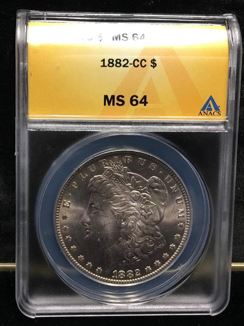 1882-CC $1 Morgan Silver Dollar ANACS MS64 - 3