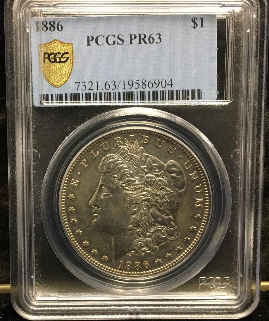 1886-P $1 Morgan Silver Dollar PCGS PR63