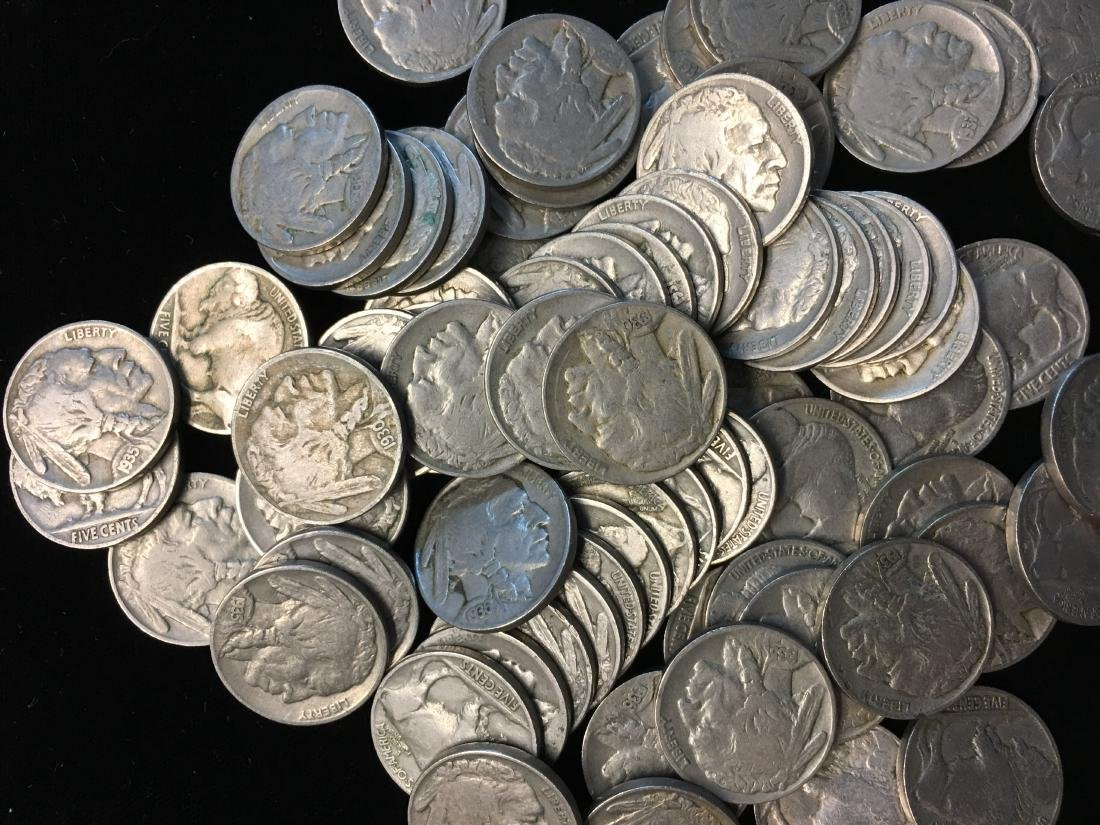 100 Mixed 1930's Buffalo Nickels - 3
