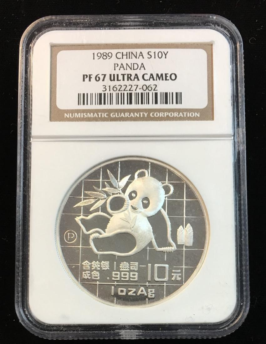 1989 China 10Y Silver Panda NGC PF67 Ultra Cameo